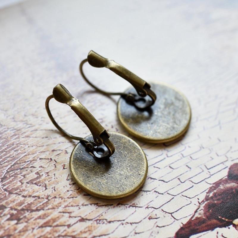 Fashion France Earring Solar System Planet Stud Earrings 16 MM Glass Cabochon Jewelry Moon Bronze Delicate Ear Hook Women Gift in Stud Earrings from Jewelry Accessories