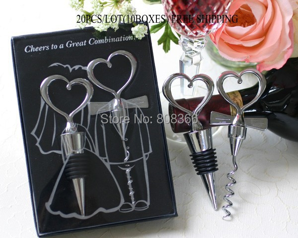 20Pcs lot 10Boxes Wedding souvenirs of Cheers to a Great Combination Wine Set Wedding favors