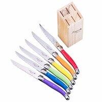 6pcs 9'' Laguiole Style Steak Knife Stainless steel Rainbow Dinner Knives in Wood Holder Restaurant Cutlery Kitchen Flatware set