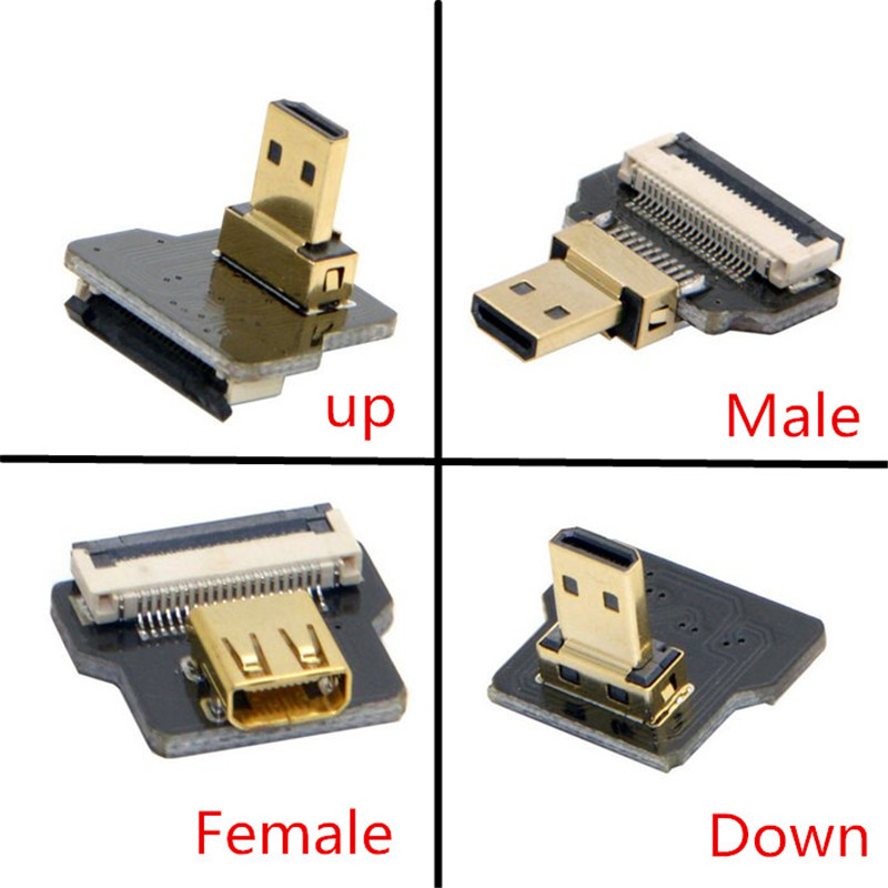 FPV Micro HDMI Type D Female-socket & male-Straight & male-Up & male-Down Angled 90 Degree Connector for FPV Photography