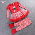 Girls Santa Claus Outwear Cotton Shirt Dress+Leggings Red Color 2pcs Kids Christmas Costume Children Clothing Sets Ropa De Ninas