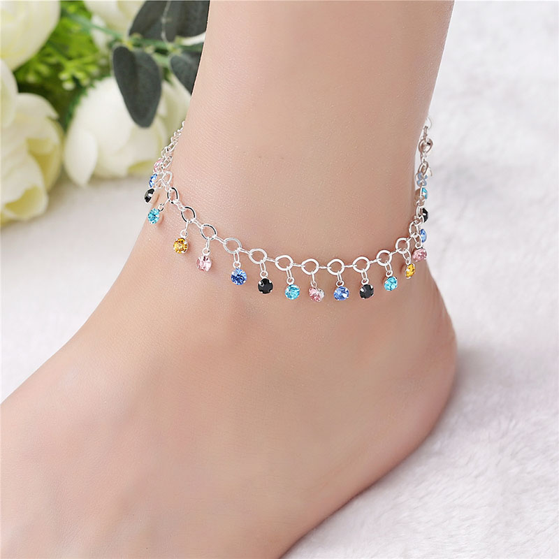Fashion feet colorful crystal pendant tassel anklet summer barefoot ankle leg bracelet female gift JZ002 in Anklets from Jewelry Accessories