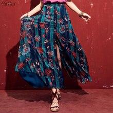 ARTKA 2019 Spring Summer Women Long Skirt Bohemian Style Printing Floral A-Line Split Skirts High Quality Clothing QA10098X цена