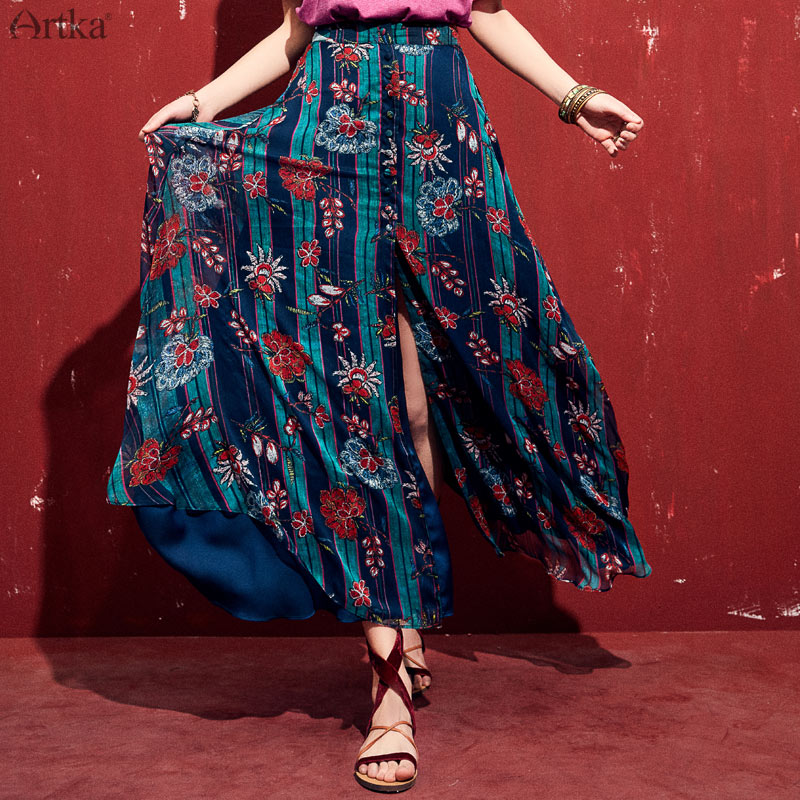 ARTKA 2019 الربيع الصيف النساء تنورة طويلة البوهيمي نمط الطباعة الأزهار ألف خط انقسام التنانير ملابس عالية الجودة QA10098X-في تنورة من ملابس نسائية على  مجموعة 1