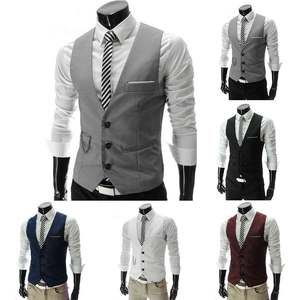 Vests Suit Dress Waistcoat Business-Jacket Slim-Fit Wedding-Party Formal Casual Sleeveless