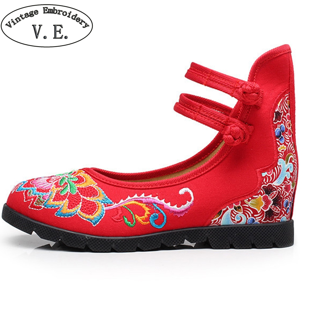 Women Flats Shoes Floral Embroidered Cotton Cloth Ankle Buckles Embroidery Canvas Dance Ballet Platforms Zapatos Mujer chinese women flats shoes flowers casual embroidery soft sole cloth dance ballet flat shoes woman breathable zapatos mujer