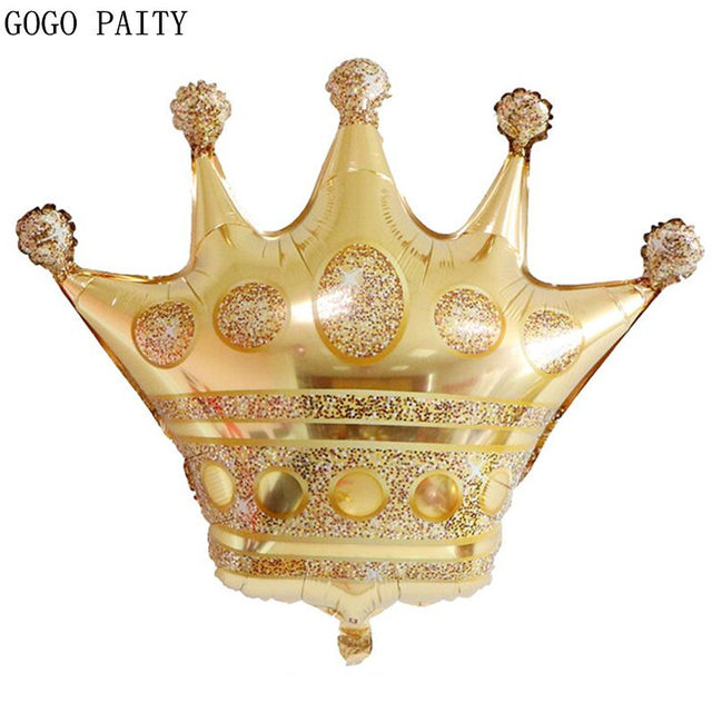 GOGO PAITY New Golden Crown Shaped Aluminum Balloons Girl Birthday Party Decoration Decorative Toy Balloons