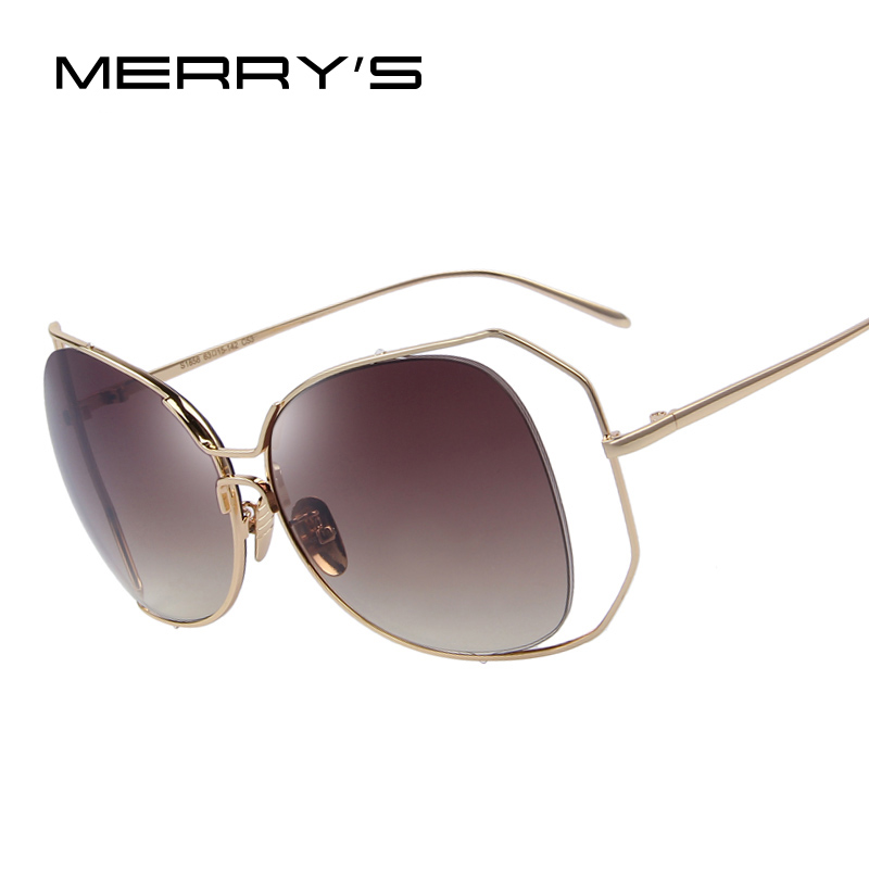 MERRY'S Fashion Women Cat Eye Sunglasses Hollow Out Alloy Big Frame Sunglasses Classic Shades Oculos de sol UV400