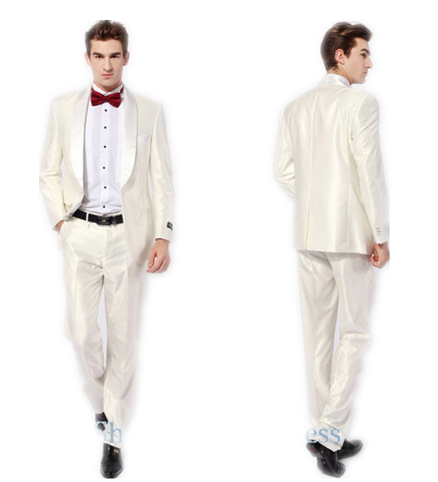 Ivory mens wedding tuxedos groom wears custom best man for Mens ivory dress shirt wedding