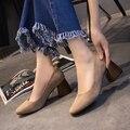 Deslizamento em Sapatas das mulheres Médio Sapatos heesl Sequare Toe Sapatos de Barco Mulher zapatos mujer Básico Bombas Primavera Outono 2505