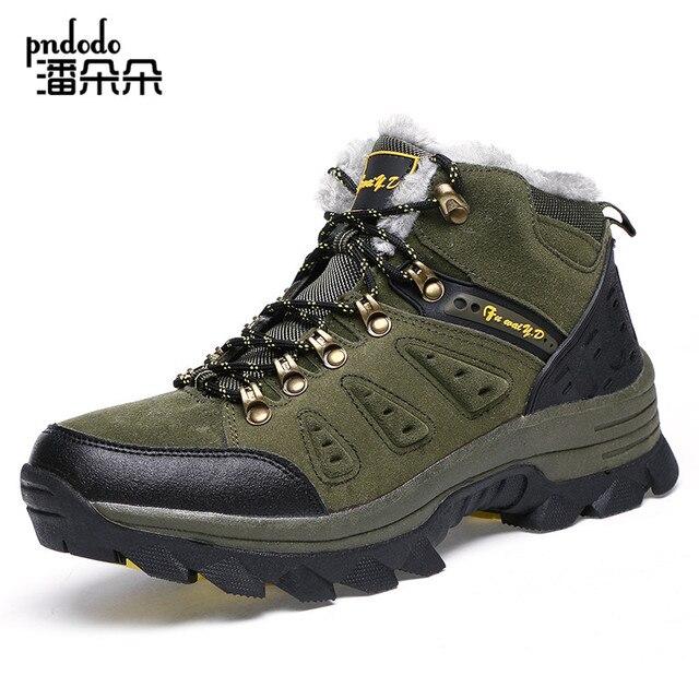 Pndodo Men Winter Boots With Fur Men Outdoor Snow Boots Men Work Shoes Man Footwear Male Rubber Ankle Boots Warm Shoes Size36-47