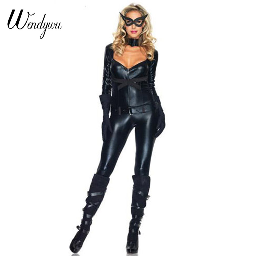 Wendywu Sexy Cleavage Backless Long Sleeve Black Leather Bodycon Jumpsuit Women Cat Costumes Belt Gloves