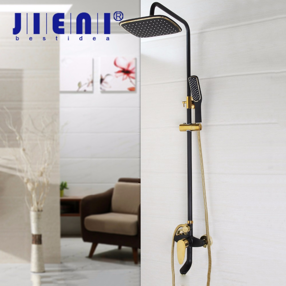 Black Gold-plated Wall-Mounted Bathroom Shower Set Faucet 51017-2 Rotating Aluminum Duct Tube + Hand Shower Spray + Rain Head диски helo he844 chrome plated r20