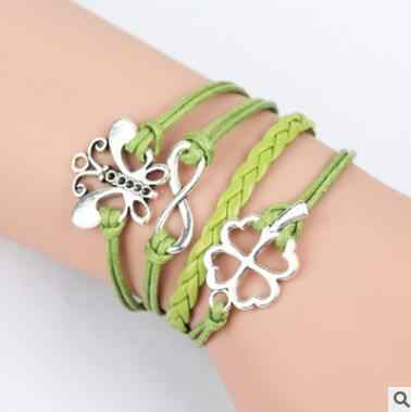 สีชมพู Multilayer Braided Bracelets โบราณ Silver Faith Hope Believe Charm สร้อยข้อมือหนังสร้อยข้อมือและกำไลข้อมือสำหรับผู้หญิง