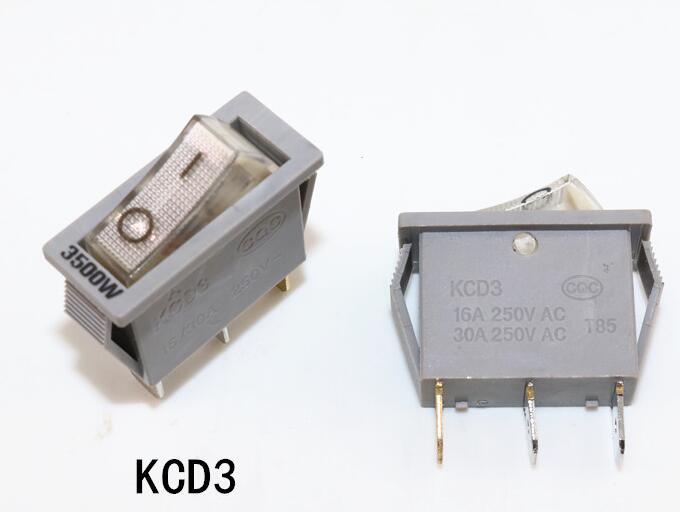 16A/30A 250 V 3500 Watt Elektrische Pfanne Teile KCD3 schalter mit lampe silber kontakt kupfer 3 pins