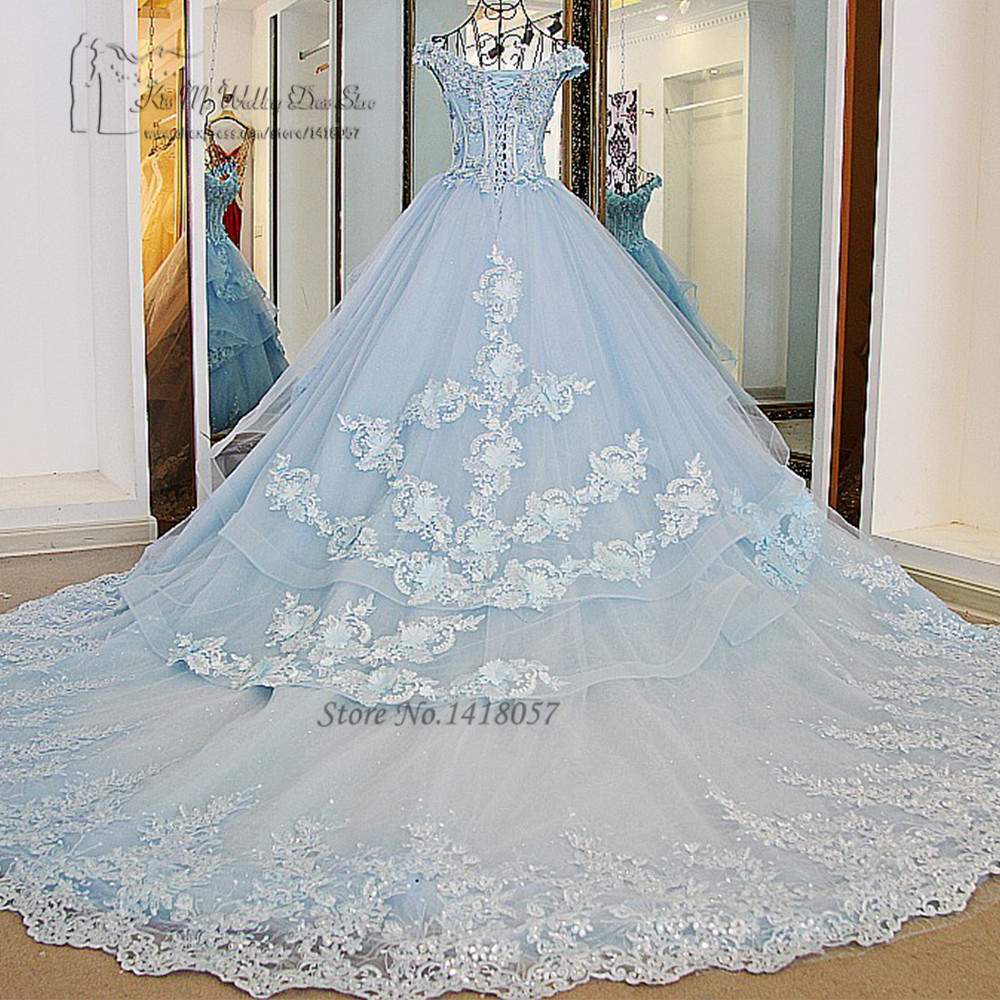 Vestido de Noiva Princesa Luxo Vintage Light Blue Wedding Dresses ...