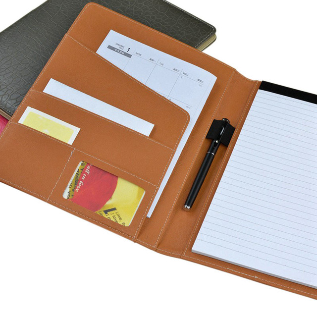 professional office file folders handmade pu leather a4 folder executive writing pad document organizer with memopad