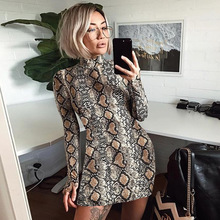Women Sexy Snake Print Dress Summer Pullovers Sheath Long-sleeve Mini Woman New Turtleneck Fashion Party Dresses Classics