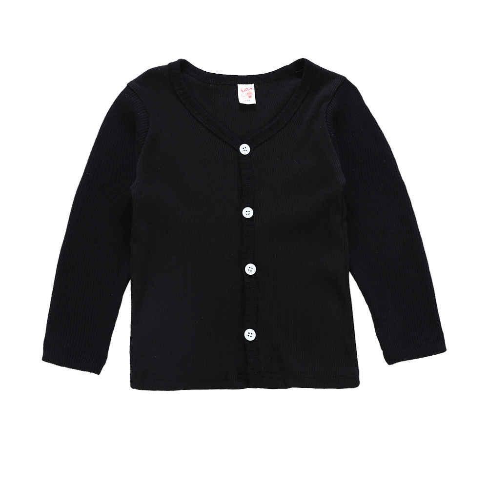 Peuter Kids Baby Jongen Meisje Gebreide v-hals Trui Vest Jas Lange Mouw Top Uitloper