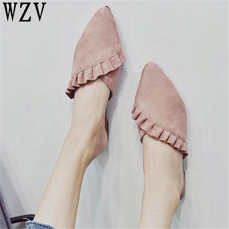 2019 Fashion Flat Women Shoes Slip On Flat Mules Ruffles Ladies Shoes Fabric Platform Loafer Flip Flop Pointed toe women sandals