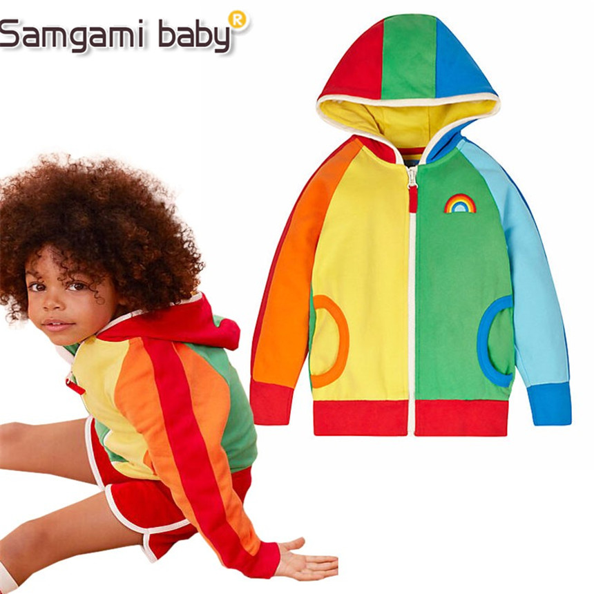 SAMGAMI BABY New Children Rainbow Spell Color Hooded Coat Spring and Autumn Girls&Boys Warm Clothes Kids Sweater Outerwear