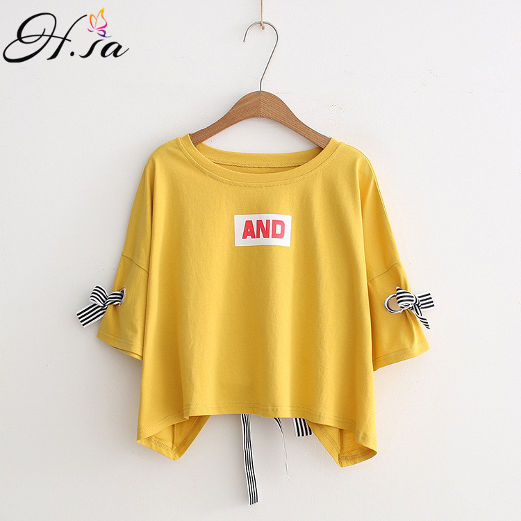 H.SA Women Summer   Blouses     Shirts   Short Sleeve Bow Tie Tops Candy Color Loose Oversize Casual   Shirts   Letters Print Women Blusas