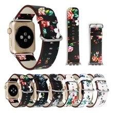 Nacional de Dibujo Impreso Venda de Reloj Reloj de Cuero Correa de La Banda para Apple Serie 3/2/1 Diseño de La Flor de Pulsera pulsera para iwatch