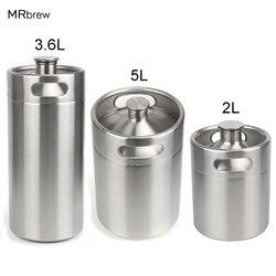 304 스테인레스 스틸 5l/3.6l/2l 미니 keg 맥주 가압 groler 휴대용 맥주 병 홈 양조 맥주 만들기 도구