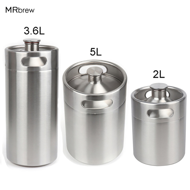 304 Stainless Steel 5L/3.6L/2L Mini Keg Beer Pressurized Growler Portable Beer Bottle Home Brewing Beer Making Tool
