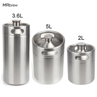 304 Stainless Steel 5L/3.6L/2L Mini Keg Beer Pressurized Growler Portable Beer Bottle Home Brewing Beer Making Tool