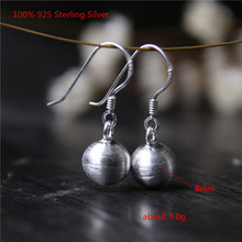 100% 925 Sterling Silver Dangle Earrings Women Simple Shiny Fashion Earring for Pure 8mm Bead Jewelry