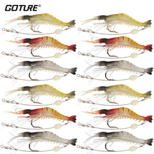 Goture 12PCS/LOT Soft Lure Fishing Lure Set Shrimp Luminous Artificial Bait Trout Bass Salmon 6g 8cm Pesca