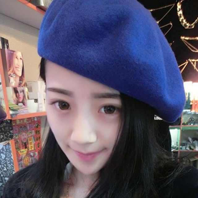 Hot Women Hats Boina Wool Sweet Made Of Natural Fur Berets Superstar Warm Flat Caps Spring And Autumn Warm Hats for Women 2019