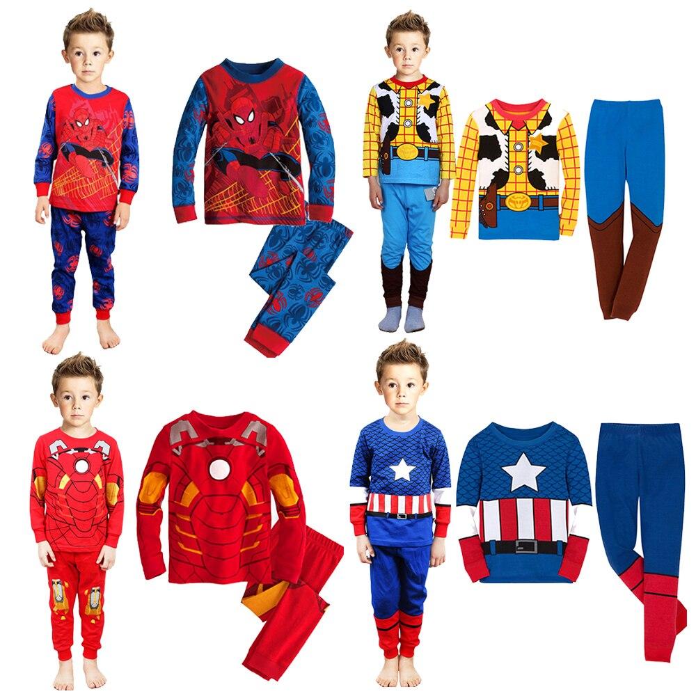 Pijamas de algodão para meninos Conjuntos Infantis Pijama mascilinos Minion Homen de ferro Batman Spiderman Capitão América heróis Pijamas infantis