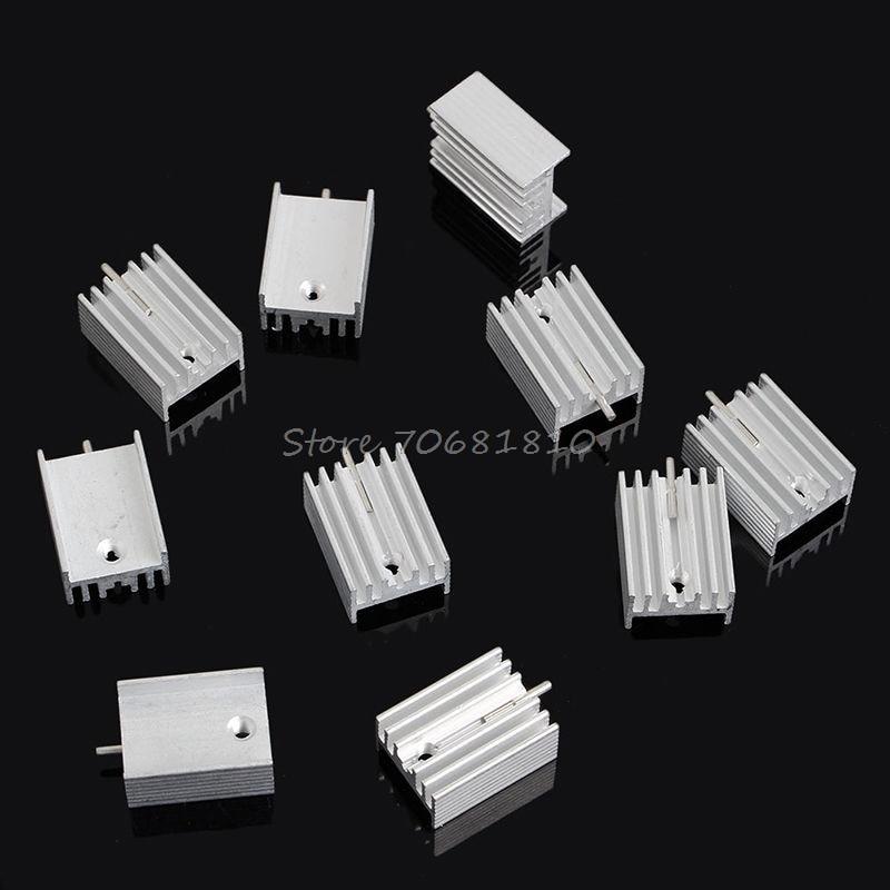 10Pcs Aluminum Heatsink Transistor Radiator With Needle For Transistors TO-220 -R179 Drop Shipping 100pcs box zhongyan taihe acupuncture needle disposable needle beauty massage needle with tube