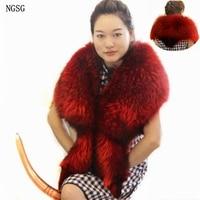 NGSG Natural Real Fur Raccoon Scarf Shawl Blue Genuine Luxury Red Raccoon Scarves Fur Cape Women's Fur Fox Accessories 13081