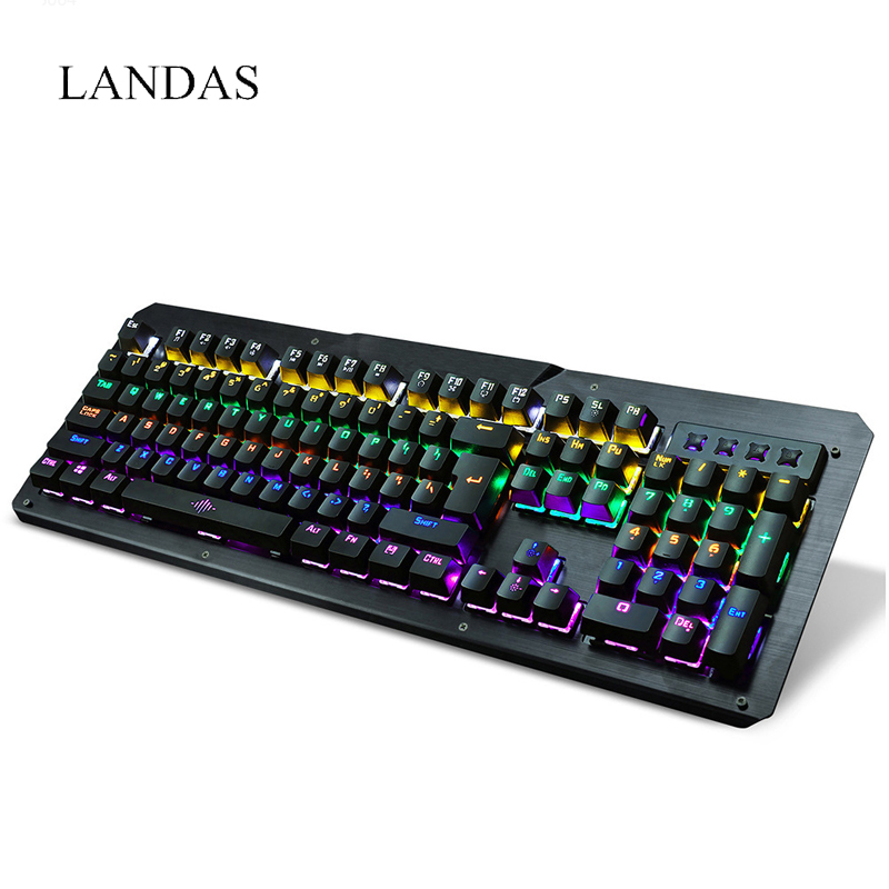 Landas USB Wired Mechanical Keyboard For Gamer Led Cool Backlight Keyboard Game Gaming With Blue Switches For Windows Xp 7 8 10 landas usb wired mechanical keyboard for gamer led cool backlight keyboard game gaming with blue switches for windows xp 7 8 10