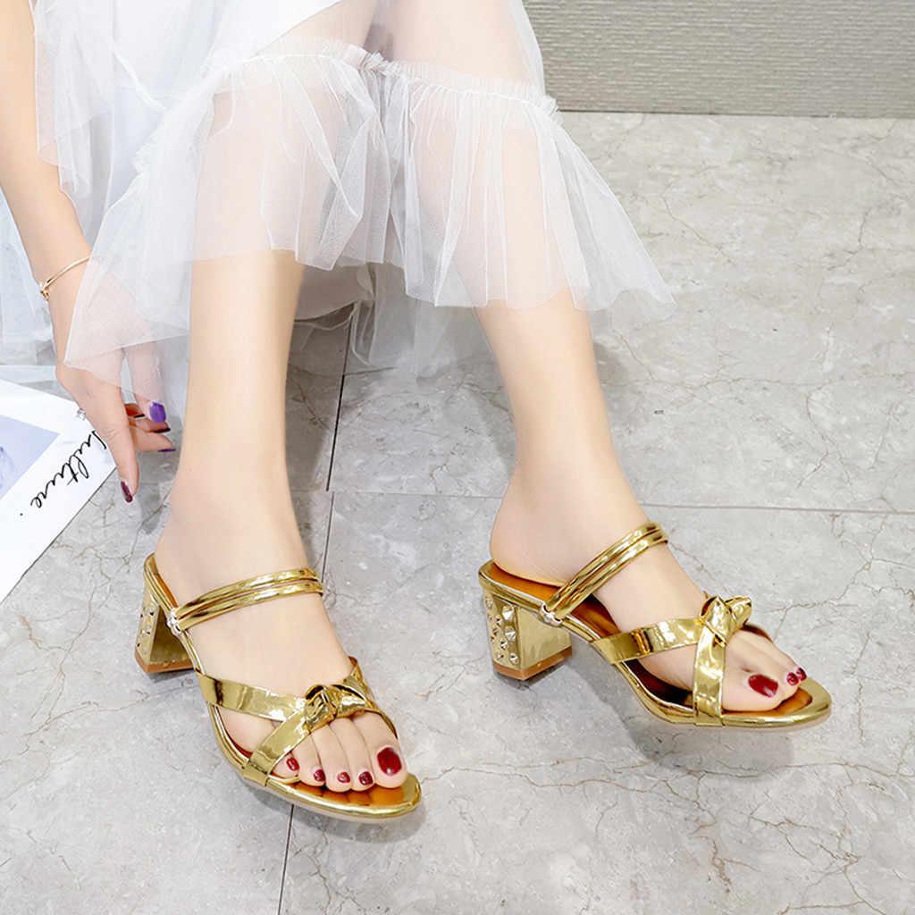 2019 محطة الأوروبية الصنادل الحلوى اللون الفاخرة الذهب صنادل عالية الكعب النعال كبيرة النساء أحذية حجم 35-43