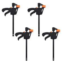 Набор пластиковых F зажимов из 4 предметов, 100 мм, 4 дюйма, рукоятка F, зажим, быстросъемный деревообрабатывающий набор ручных инструментов DIY
