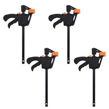 Plastic F Clamps Set 4-Piece, 100mm 4 inch Bar Clip Grip Quick Ratchet Release Woodworking DIY Hand Tool Kit