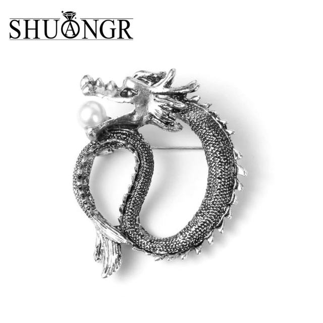 SHUANGR Unique Simulated Pearl Brooches Vintage Jewelry Silver Color Metal  Chinese Dragon Pins And Brooch For Women