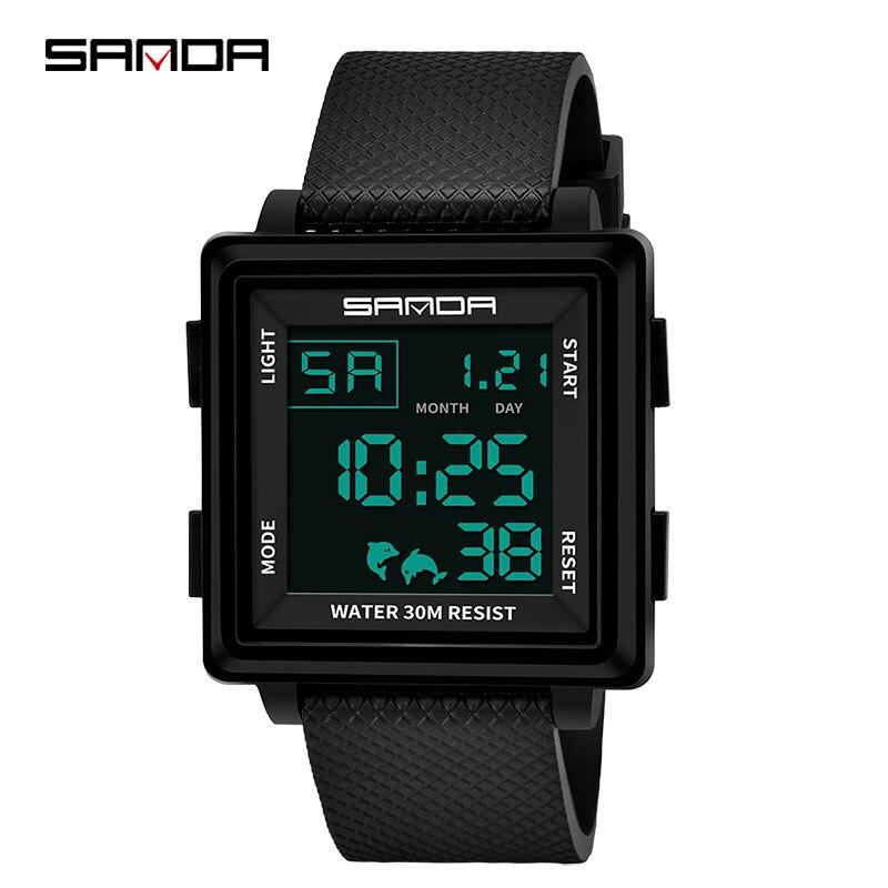 SANDA Digital Wristwatches Square Clock Masculino Waterproof Electronic Men Fashion Mens