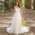 Vestido De Noiva 2017 Robe De Maria Novo Branco/Marfim Louisvuigon Chiffon Bordado Praia A-Line Vestido de Noiva 2017 de Casamento vestidos