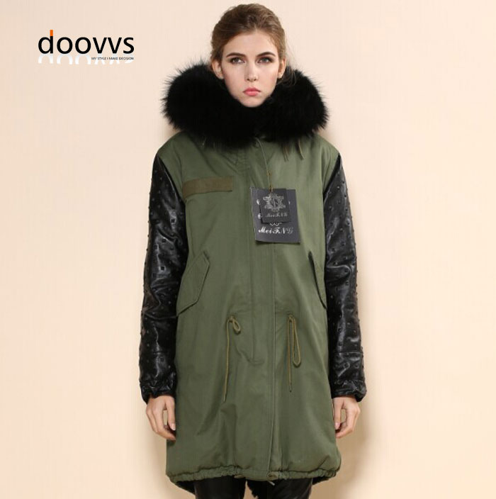 Popular Green Parka Coat with Fur Hood Mr Mrs-Buy Cheap Green
