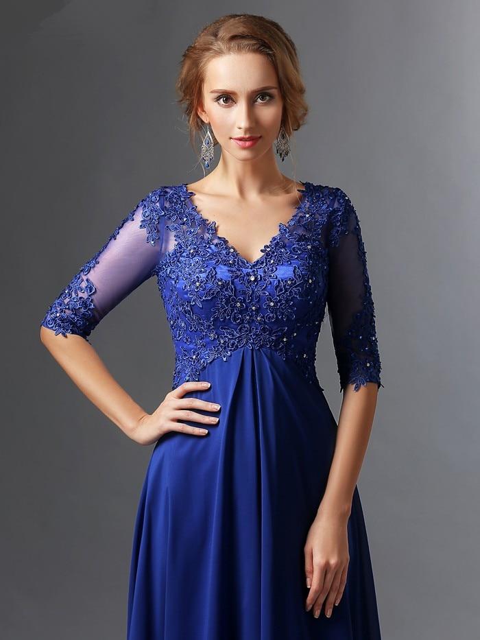 Elegant Royal Blue A-line V-neck Half Sleeves Chiffon Lace Long Mother Of The Bride Dress