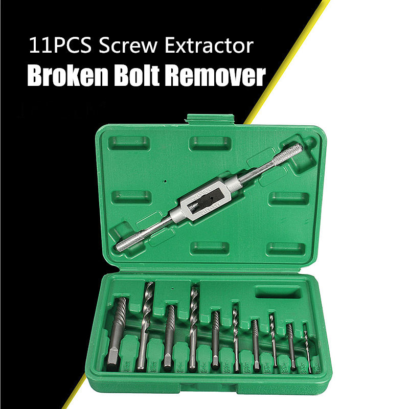11pcs/set Screw Extractor Broken Bolt Remover Drill Guide Bits Set With Holder Frame Tools Size 4mm-11mm Puller Out Kit Case Box 11pcs screw extractor broken bolt remover drill guide bits set with holder frame tools size 3mm 10mm