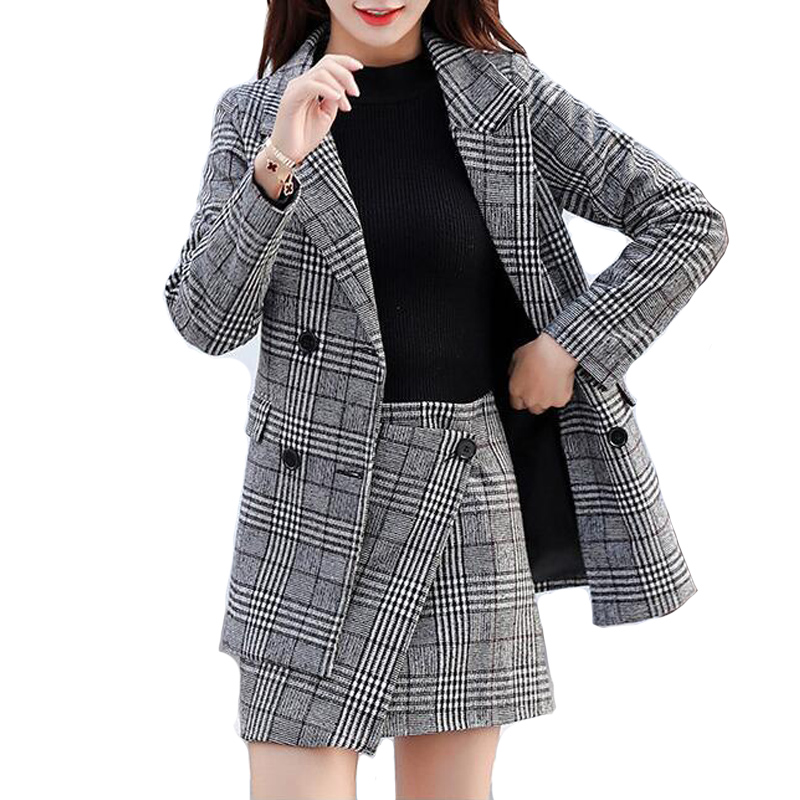 2019 Frühling Frauen Plaid Blazer Vintage Asymmetrische Mini Rock Zwei Sätze Von Elegante Büro Dame Anzüge Sets Zweireiher Jacke