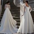 Largo de la vendimia Vestidos de Novia De Manga Larga Con Apliques de Encaje Con Cuello En V de Raso de Novia Vestidos de Novia Vestido de Novia vestido de noiva