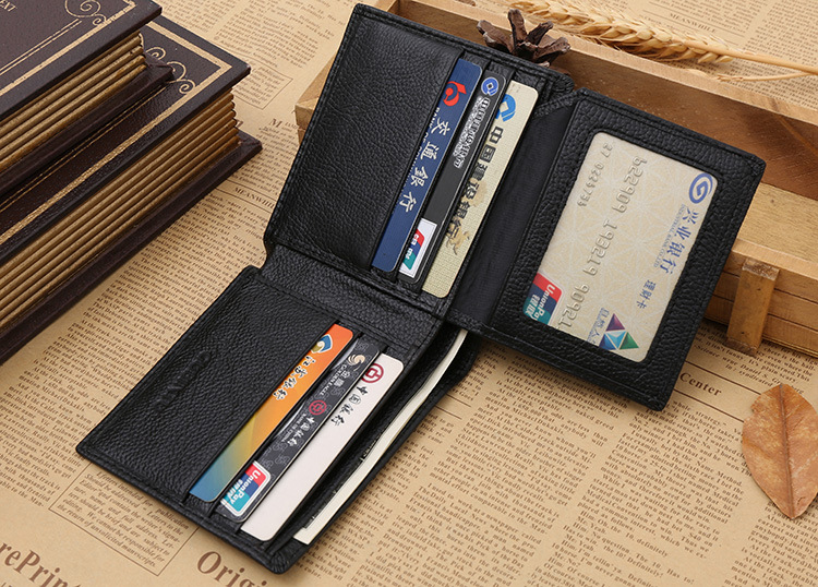 RFID Blocking Security Genuine Leather Wallet For Men Excellent Travel Bifold Card Id Credit Protector Black Mens Wallet бумажник на шею acecamp security neck wallet