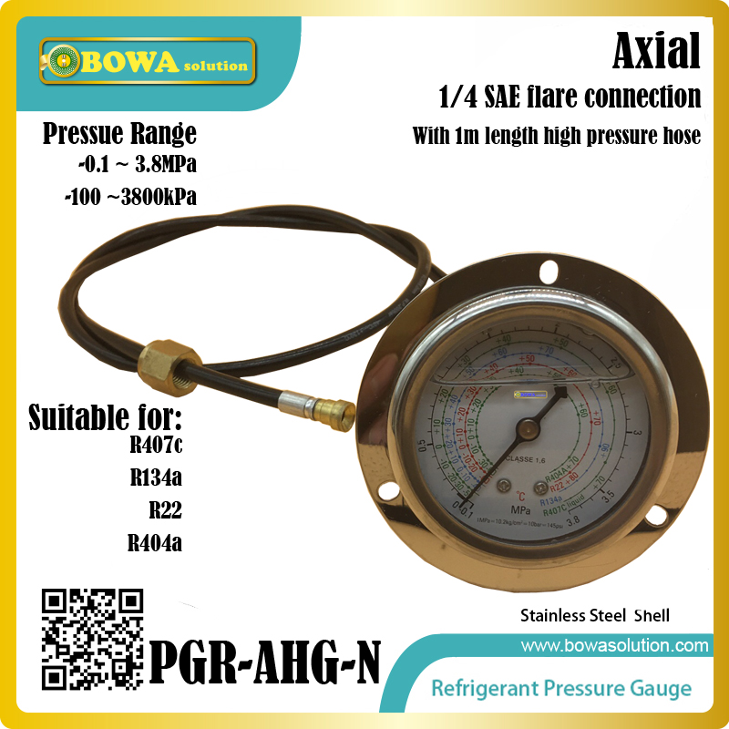 High pressure freon Pressure Gauge working together with charging valve(check valve) to monitor the system leakage changes r134a single refrigeration pressure gauge code 1503 including high and low